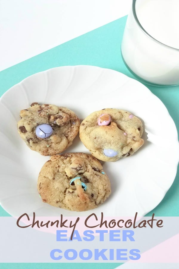 Easter is so much fun!!! Kids can't wait to see what will be in their baskets and what delicious goodies we'll be having like these Chunky Chocolate and Walnut Easter Cookies.