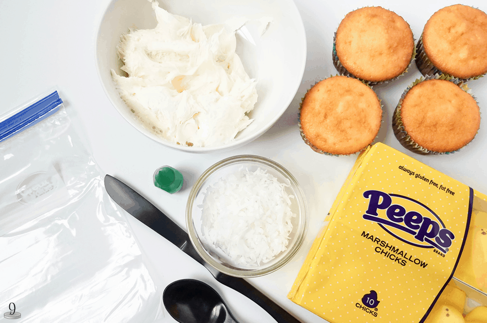 All the ingredients you'll need for delicious Easter Peeps Cupcakes that will surely add fun to your holiday festivities.