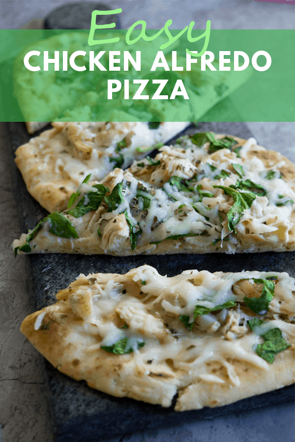 We LOVE this yummy Easy Chicken Alfredo Pizza! Big chunks of chicken, creamy sauce, Mozzarella and garlicky greens makes this a delicious flatbread dish!