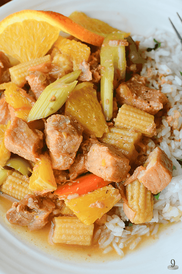 Steaming sticky white rice is the best combination with this savory Orange Ginger Pork