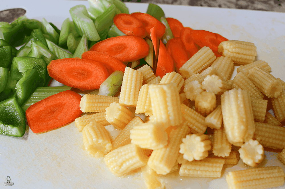 baby corn, carrots, celery, and bell peppers are delicious in this orange ginger pork recipe.