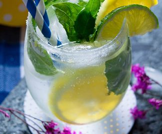 This Lemon Basil Mojito is the perfect Mom Themed Cocktail. It's light, herbal and refreshing mojito for your summer days or any time.